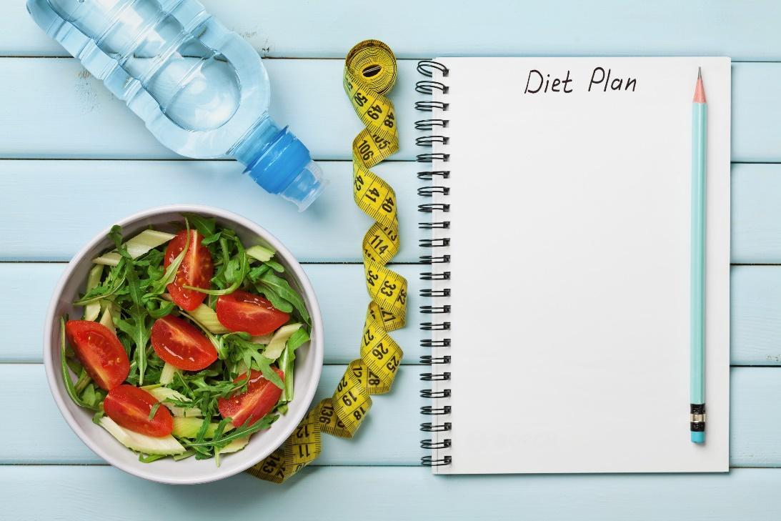 Plan diety, miarka, woda isałatka.